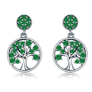 BAMOER Genuine 100% 925 Sterling Silver Tree of Life ,AAA Zircon Drop Earrings for Women Sterling Silver Jewelry Brincos SCE067 - thegsnd