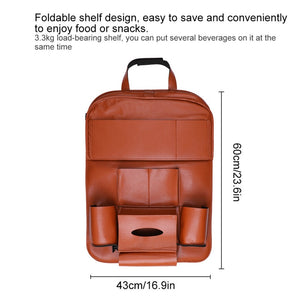 Car Seat Back Hanging Organizer Bag Universal Auto Multi-pocket PU Leather Pad Cups Storage Holder Bag Foldable Shelf - thegsnd