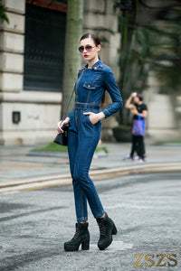 Denim Jumpsuit women Hight Waist Front Zipper Denim Overalls Playsuits Female Long Sleeve Turn Down Collar Jeans Rompers - thegsnd