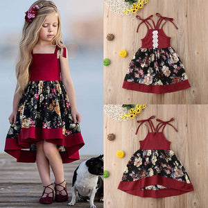 Sweet Toddler Baby Girls Sleeveless Dress Party Princess Floral Sundress Outfit - thegsnd