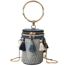 Load image into Gallery viewer, Summer Fashion New Handbag High quality Straw bag Women bag Round Tote bag Hand Metal Ring Tassel Chain Shoulder Travel bag - thegsnd