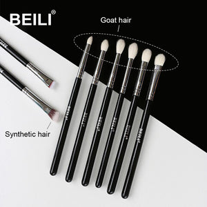 BEILI 8pcs Classic Black Pro makeup brushes Goat synthetic Hair Eye shadow Brow Blending smoky Makeup Brush Set - thegsnd