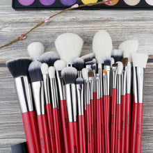 Load image into Gallery viewer, BEILI Red 30pcs Professional Makeup Brushes Set Natural Hair Powder Foundation Blusher Eye shadow brow liner Makeup Brush Tool - thegsnd
