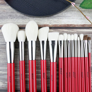 BEILI Red 30pcs Professional Makeup Brushes Set Natural Hair Powder Foundation Blusher Eye shadow brow liner Makeup Brush Tool - thegsnd