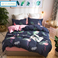 BEST.WENSD King size Flamingo bed clothes bedlinen thickening Cartoon animal bedding bedsheets duvet cover beddengoed for boy-Kids Sleeping Kit-thegsnd