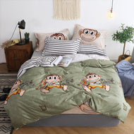BEST.WENSD Monkey bedspread bedding queen comforter bedding sets cartoon series striped bedsheet duvet cover set juego de cama-Kids Sleeping Kit-thegsnd