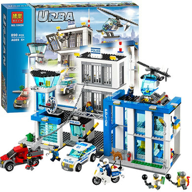 Bela 10424 City Police Station Motorbike Helicopter Model Building Bricks Kits Compatible with Legoe City 60047-Kids Playing Zone-thegsnd