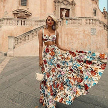 Load image into Gallery viewer, Bellflower Floral Summer Maxi Dress Women Backless Sleeveless Bohemian Long Dresses Beach Sexy Plus Size Dress Vestido 2019White - thegsnd