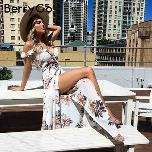 BerryGo Floral print ruffles chiffon maxi dresses Strap v neck split beach summer dress Sexy backless women dress long vestidos-Women's Clothing-thegsnd