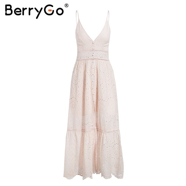 BerryGo White pearls sexy women summer dress 2019 Hollow out embroidery maxi cotton dresses Evening party long ladies vestidos - thegsnd