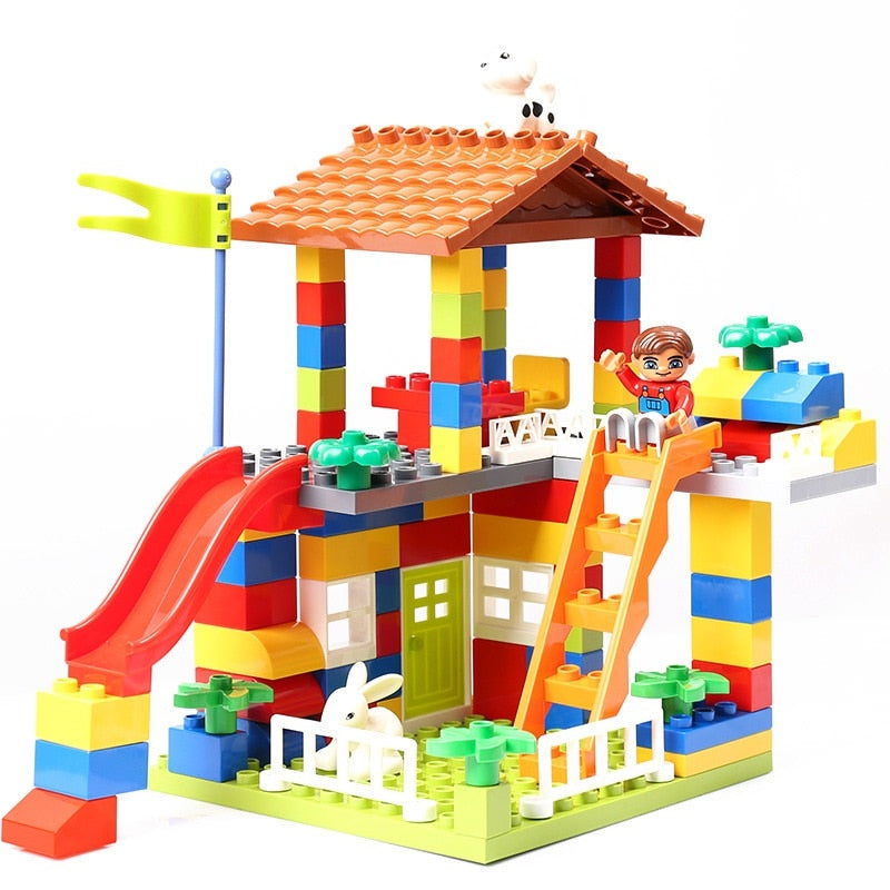 Big Size Slide Blocks City House Roof Big Particle Building Blocks Compatible DuploINGlys Castle Educational Toy For Children - thegsnd