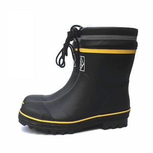 Black Rubber Safety Fishing Boots Men Steel Toe Steel Sole Rain Boots Anti-stabbing Gumboots and Anti-smashing Galoshes 36-46 - thegsnd