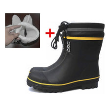 Load image into Gallery viewer, Black Rubber Safety Fishing Boots Men Steel Toe Steel Sole Rain Boots Anti-stabbing Gumboots and Anti-smashing Galoshes 36-46 - thegsnd
