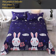 Blue Cartoon Rabbit Bedsheet Set Twin Queen King Flat Sheet With Pillocase 3 Piece Single Double Bedspread For Girls Boys-Kids Sleeping Kit-thegsnd