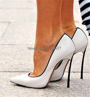 Brand Design Women Pointed Toe Metal Stiletto Heel Pumps Slip-on White Blue Pink High Heels Formal Dress Shoes Wedding Shoes - thegsnd