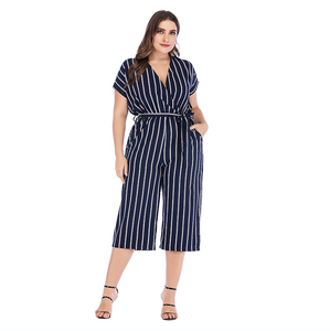 GIBSIE Summer Office Lady Elegant Belted Striped Jumpsuit Women Plus Size Wrap V Neck Casual Pocket Rompers Womens Jumpsuit - thegsnd