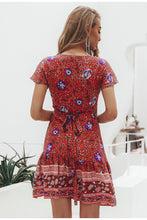 Load image into Gallery viewer, Simplee Bohemian floral mini women summer dress festa V neck ruffle bandage dress female 2019 Elegant holiday beach sundress - thegsnd