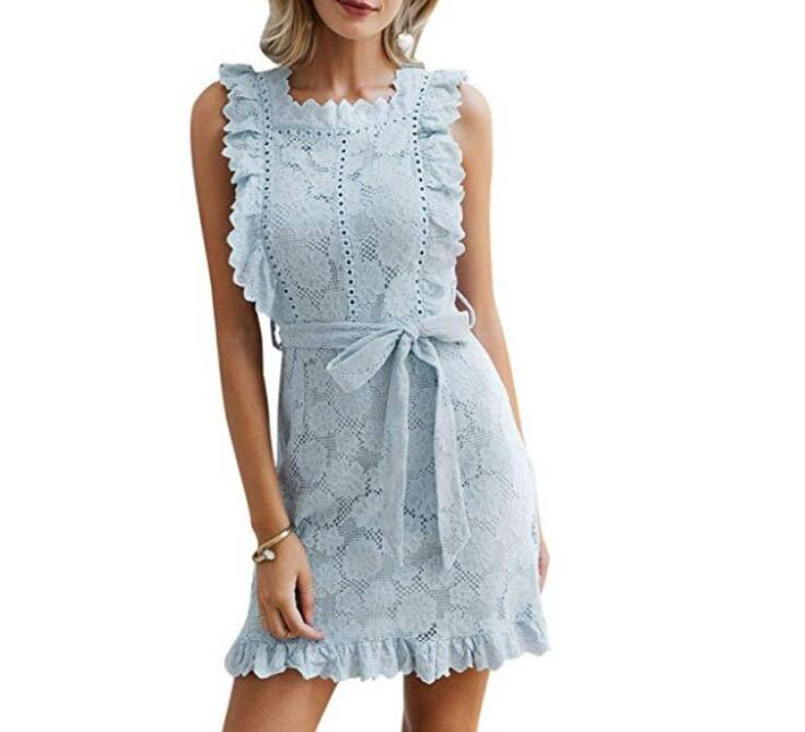 Elegant Embroidery Lace Women Dress Hollow Out Sashes Ruffle White Summer Dress Slim Sexy Party Lady Dress - thegsnd