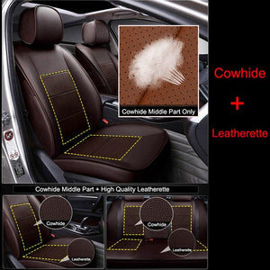 CARTAILOR Genuine Leather Car Seat Cover Set for Hyundai Elantra Seat Covers & Supports Black Auto Cover Seats Cushion Protector - thegsnd