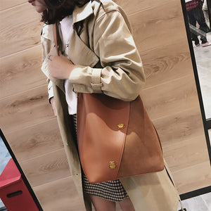 Burminsa Suede Bucket Women Shoulder Messenger Bags Sets Vintage Wide Strap Ladies Handbags Patchwork Female Crossbody Bags - thegsnd