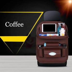 Car Seat Back Bag Folding Table Organizer Pad Drink Chair Storage Pocket Box Travel Stowing Tidying Automobile Accessories - thegsnd