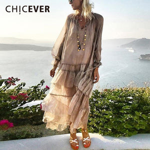 CHICEVER Spring Patchwork Ruffles Women's Dresses V Neck Petal Sleeve Loose Perspective Holiday Dress Fashion Clothes Tide - thegsnd