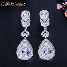 Load image into Gallery viewer, CWWZircons Elegant Water Drop Shaped Cubic Zirconia Crystal Bridal Long Earrings Luxury Wedding Jewelry for Brides CZ166 - thegsnd