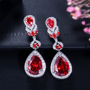CWWZircons Elegant Water Drop Shaped Cubic Zirconia Crystal Bridal Long Earrings Luxury Wedding Jewelry for Brides CZ166 - thegsnd