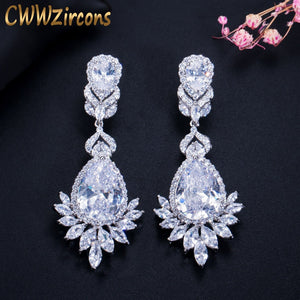 CWWZircons Elegent Evening Dinner Party Wedding Jewelry Luxury Long CZ Crystal Big Drop Dangle Earrings for Brides CZ055 - thegsnd