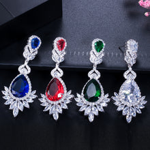 Load image into Gallery viewer, CWWZircons Elegent Evening Dinner Party Wedding Jewelry Luxury Long CZ Crystal Big Drop Dangle Earrings for Brides CZ055 - thegsnd