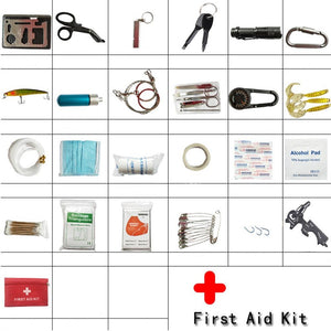 Camping 26 in 1 survival kit Set Outdoor Camping Travel Multifunction First aid SOS EDC Emergency Tactics survival kit military - thegsnd