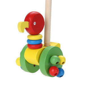 Cartoon Baby Toddler Mini Animal Car Toy Cute Mini Educational Walk Training Pushing Animals Wooden Puzzle Trolley Random Color-Wooden Toy-thegsnd-thegsnd
