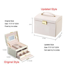 Load image into Gallery viewer, Casegrace 2019 Women Jewelry Storage Organizer Drawers Box Travel Makeup Cosmetic Case & Mirror Leather Wedding Decoration Gift - thegsnd