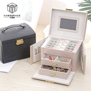 Casegrace 2019 Women Jewelry Storage Organizer Drawers Box Travel Makeup Cosmetic Case & Mirror Leather Wedding Decoration Gift - thegsnd