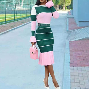Casual Bodycon Dress Women 2019 Sexy Bandage Fashion Stripe Ruffle Flare Long Sleeve African Elegant Ladies Autumn Midi Dresses-Women's Clothing-thegsnd