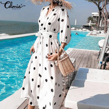 Load image into Gallery viewer, Celmia 2019 Summer Women's Dress Korean Style V-neck Maxi Long Dress Casual 3/4 Sleeve Belt Female Dot Print Vestidos Plus Size - thegsnd