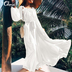 Celmia Women Ruffle Beach Dress 2019 Summer Lantern Sleeve Maxi Long Dress Tie Casual Loose Belted Sexy Swing Vestidos Plus Size - thegsnd