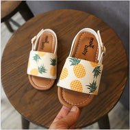 Children's Flat-soled Sandals Girls Summer New Girl Fashion Fruits Print Soft-soled Beach Shoes Lovely Children's Baby Shoes - thegsnd