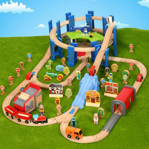 Circular Bridge Green Garage Track Train Set Compatible with Wooden Train Tracks and Electric Cars Children Puzzle Rail Car Toy - thegsnd