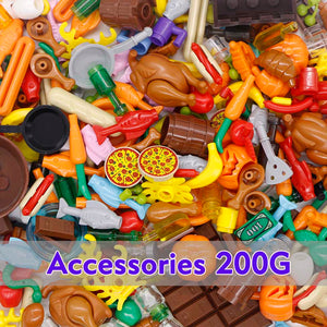 City Accessories Bricks Food Fish Bread Pizze Friends Fruit Drinks Hot Dog Carrot Toys Legoed Figures Parts Bulk Building Blocks - thegsnd
