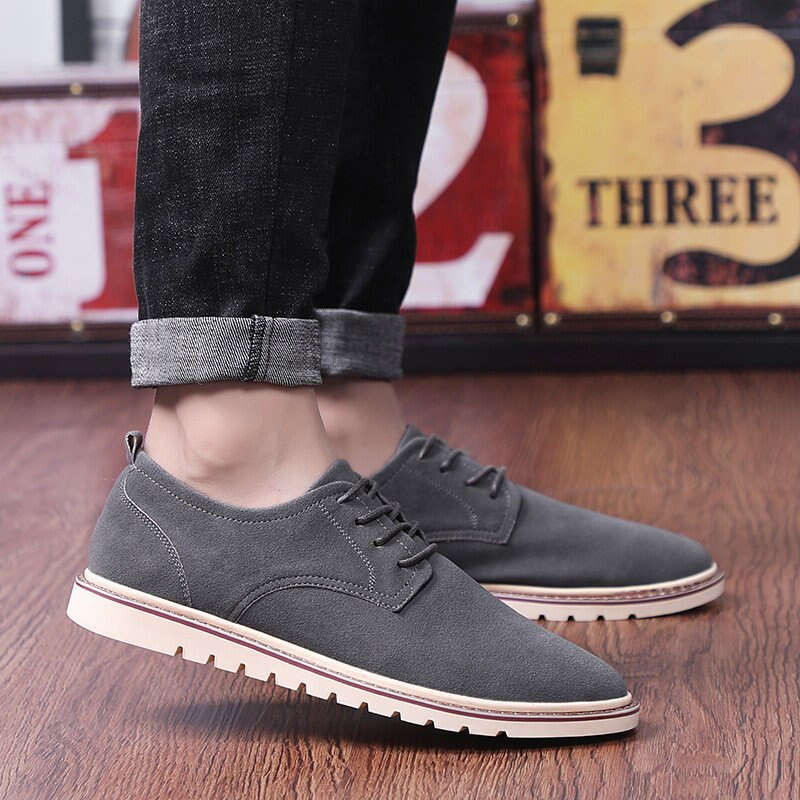 Classic Men's Casual Shoes Plus Size Breathable Man Oxford Loafers Lace Up Suede Leather Man Casual Shoes Moccasins 38 47