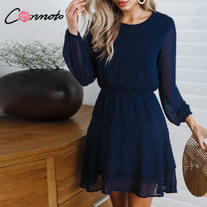 Conmoto Vintage Party Women Dress Casual Elegant Long Sleeve Polka Dot Dress Solid Short Winter Chiffon Dress Vestidos - thegsnd