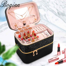 Load image into Gallery viewer, Cosmetic Bag PU Leather Large Capacity Women Makeup Bag Case Fashion Professional Make up Bags Organizer Storage Box Suitcase - thegsnd