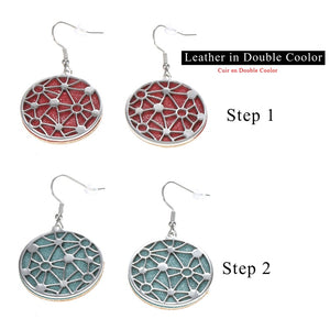 Cremo Hanging Dangle Earrings Jewelry Steel Round Geometric Earrings for Women Drop Earring with Interchangeable Leather - thegsnd