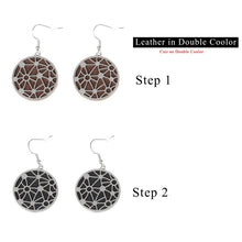 Load image into Gallery viewer, Cremo Hanging Dangle Earrings Jewelry Steel Round Geometric Earrings for Women Drop Earring with Interchangeable Leather - thegsnd