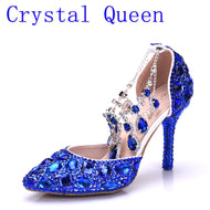 Crystal Queen Women Blue Rhinestone Crystal Wedding Shoes Graduation Party Prom Shoes Nightclub Evening Bridal Sandals High Heel - thegsnd