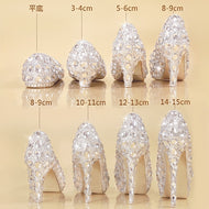 Crystal Shoes Cinderella Women Heels For Evening Party Glittering Round Toe Custom Silver Rhinestone Wedding Pumps Size 9 - thegsnd