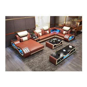 Custom electrical recliner sofa set with led lights, l shaped fabric recliner sofa, corner recliner 7 seater - thegsnd