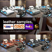 Load image into Gallery viewer, Custom electrical recliner sofa set with led lights, l shaped fabric recliner sofa, corner recliner 7 seater - thegsnd
