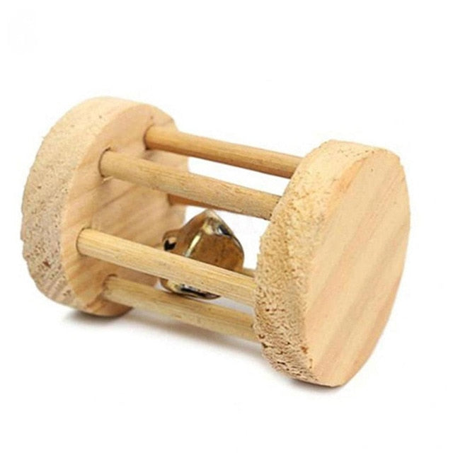 Cute Natural Wooden Rabbits Toys Pine Dumbells Unicycle Bell Roller Chew Toys for Guinea Pigs Rat Small Pet Molars Supplies-Wooden Toy-thegsnd-03-United States-S-thegsnd